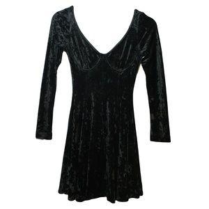 Vintage Black Velvet Long Sleeve Skater Dress
